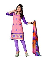 krizel Jasmine Pink Chanderi Unstitched Straight Salwar Suit Dress Material