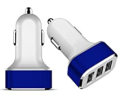iWorld 3-Port USB Electric Car Charger for Apple iPhone 6, 5S, 5C, 5, 4S, 4, Samsung Galaxy Note 4, 3, 2, Samsung Galaxy S6 S5 S4 S3 Edge, Apple iPad, Nexus, HTC, Motorola, Nokia, PS Vita, Gopro and More (Blue)