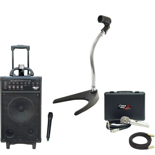 Pyle Speaker, Mic, Stand And Cable Package - Pwma860I 500W Vhf Wireless Portable Pa System /Echo W/Ipod Dock - Pdmik4 Dynamic Microphone With Carry Case - Pmks8 U-Base Gooseneck Desktop Microphone Stand - Ppmcl50 50Ft. Symmetric Microphone Cable Xlr Femal