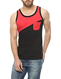 Gritstones Black/Red Sleeveless Round Neck T-Shirt