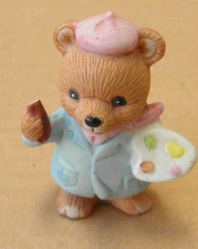 Homco Ceramic Bear Painter - 2 inches tall -