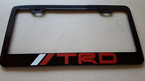 Toyota TRD Red Vinyl Decal on Black Metal License Frame with screw caps included (Black Trd License Plate Frame compare prices)