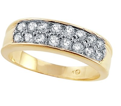 CZ Wedding Ring 14k Yellow Gold Anniversary Band Cubic Zirconia 1.5ct, Size 6.5