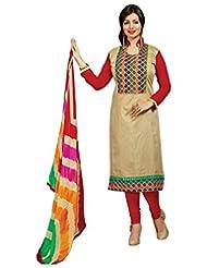 Surat Tex Cream Color Casual Wear Embroidered Chanderi Semi-Stitched Salwar Suit - B017RAXHQ4