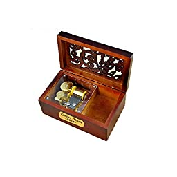 Laxury Creative Engraved Wooden 18-note Wind-up Musical Box,Musicl Toys,Tune:The Wind Forest from Totoro
