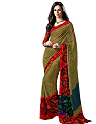 Beige Color Georgette Printed Saree With Blouse 7015