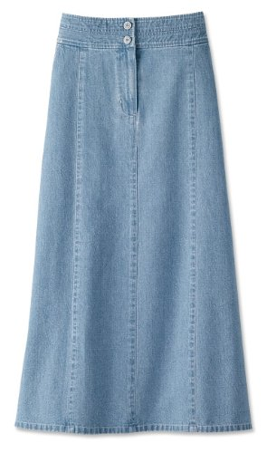 Chambray Denim Skirt, Chambray, 10