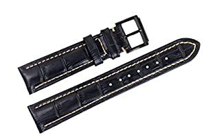 22mm Black Luxury Italian Leather Replacement Watch Straps/Bands Handmade White Stitched for Top Grade Brands