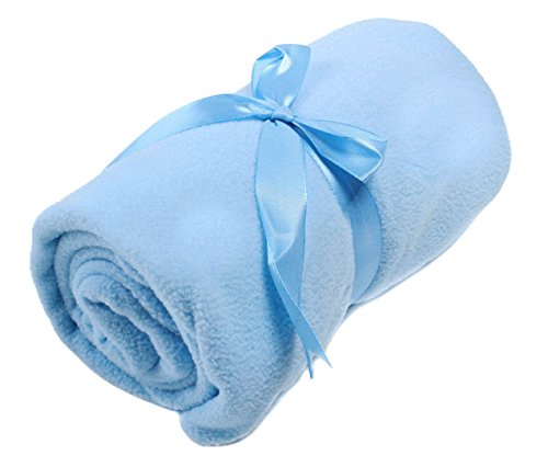 AMC Fleece Baby Throw Blanket with Complimentary Ribbon Tie, Blue