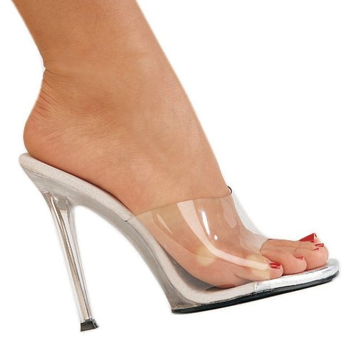 5 Inch Sexy High Heel Shoes Stiletto Heel Slip On Slide Clear Size: 10