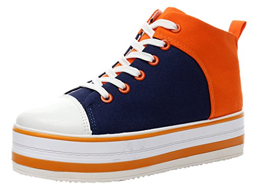 XIAXIAN Soft Canvas Breathable High Top Round Toe Special Design shoes(7.5 B(M) US, BlueOrange)