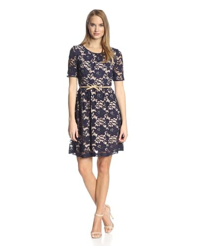Donna Morgan Women's Elbow Sleeve Belted Waist Flare Lace Dress