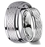 His & Hers 8MM/6MM Tungsten Carbide Wedding Band Ring Set w/Laser Etched Celtic Design (Available Sizes 4-14 Including Half Sizes) Please e-mail sizes
