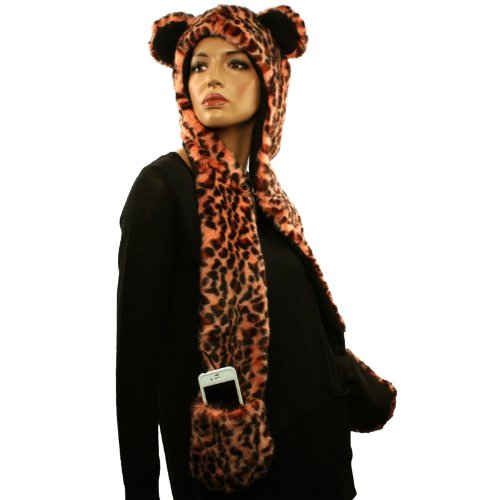 With Headphones Speakers Winter Faux Leopard Fur Trapper Pocket Ski Hat Peach