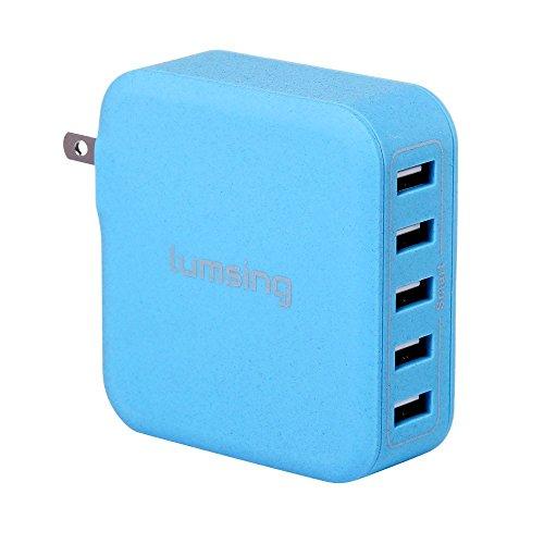 Lumsing USB急速充電器 40W 5ポート ACチャージャー 折りたたみ式  各種 スマホ / タブレット / wi-fiルーター 等対応 持ち運び安い ブルー