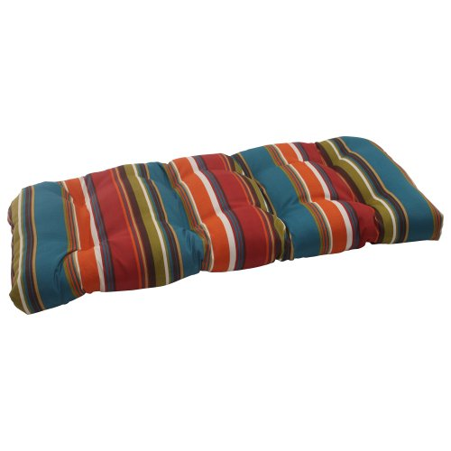 Pillow Perfect Indoor/Outdoor Westport Wicker Loveseat Cushion, Teal image