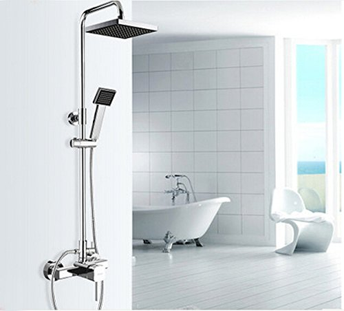 Rozinsanitary Rainfall Bathroom Shower Faucet Set Chrome Finish ABS Handheld Shower Mixer Tap Tub Faucet Wall Mounted