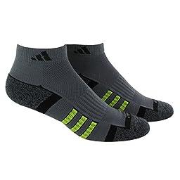 adidas Men\'s Climalite II Low Cut Socks (Pack of 2), Vista Grey/Vista Grey-Black Marl/Black/Semi Solar Yellow, One Size