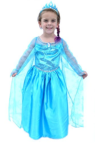 Deluxe Frozen Queen Inspired Girls Costume Size 7/8/9 w/ Free Elsa Pin And Balloon