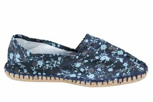Womens Navy Floral Summer Flat Espadrilles Espadrille Shoes Size UK 3 4 5 6 7 8