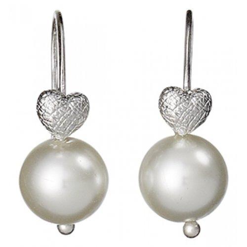 Pilgrim Jewelry Damen-Ohrstecker aus der Serie Classic versilbert offwhite 2.8 cm 611316033