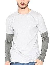 Campus Sutra Mens Cotton T-Shirt ( SS15MEL_RNFSSLD_M_PLN_GRCH_S _ Grey Melange _ S )