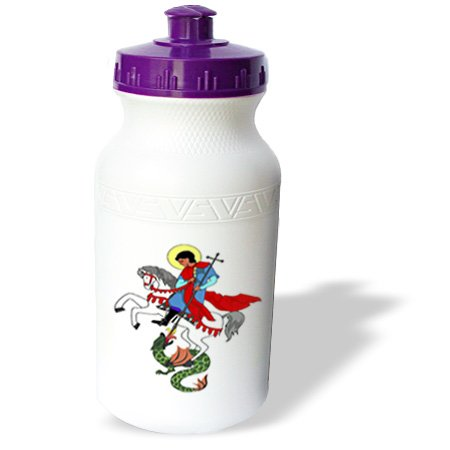 Wb_194546_1 Florene - Childrens Art Iii - Print Of Cartoon Guy Holding Cross And Fighting Dragon - Water Bottles