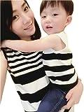 親子ペア ペアルック そでなし Tシャツ ワンピース ファミリー ファッション (ママM, 写真色)