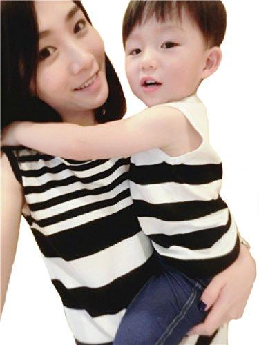 親子ペア ペアルック そでなし Tシャツ ワンピース ファミリー ファッション (ママS, 写真色)