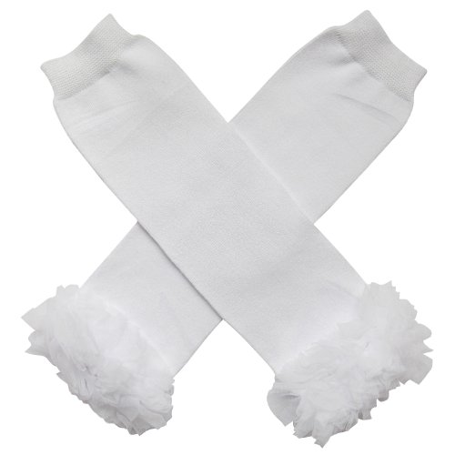 Chiffon Solid White - Tutu Ruffle Leg Warmers for Infant, Baby, Toddler, Girls