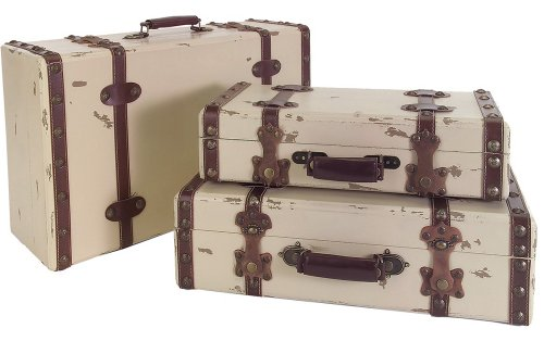 IMAX Voyager Set of 3 Antique Style Suitcases 0