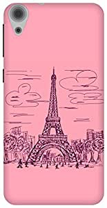 The Racoon Grip printed designer hard back mobile phone case cover for HTC Desire 820. (paris scri)