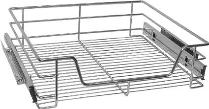 grau Zeller Metall Regal auf Rollen mit 4 Vlies Schubladen Bad Küche Büro