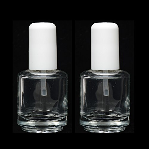 Empty Polish Bottles Clear with Brush Cap and Mixing Ball14ml/0.5 Oz 2 PCS