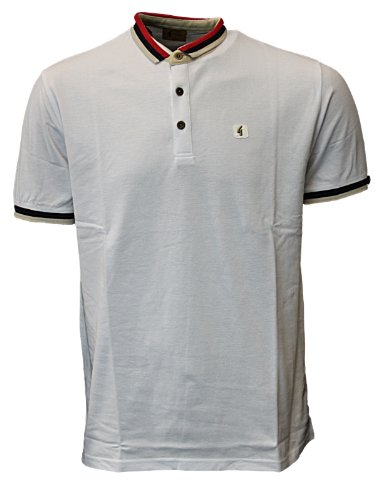 New Mens White Gabicci WALLASEY Designer Branded Polo Neck T-Shirt Top Size S