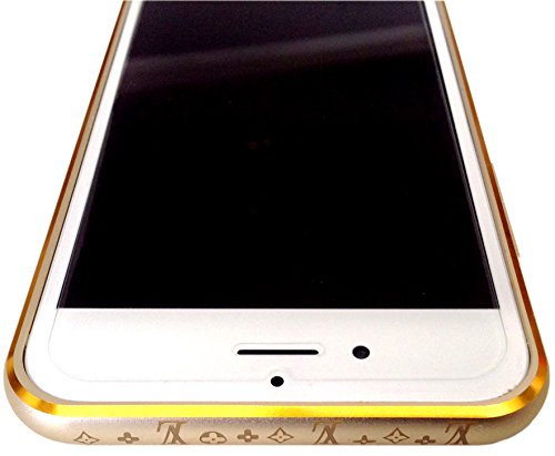 Limited Period Offer- Luxury Rich Look LV Metal Bumper Case/cover with Golden Print Design On champagne gold With Golden Edge For Apple iPhone 6- Buy now and get premium quality Screen Guard worth Rs.199 Absolutely free!!