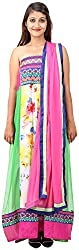 Arya The Design Gallery Women's Georgette Semi Stitched Dress Materials( SKA3580, Off-White, Free Size)