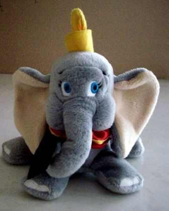 Dumbo Bean Bag Plush - Extra Full with Feather - 10.5 Inches Tall - 1