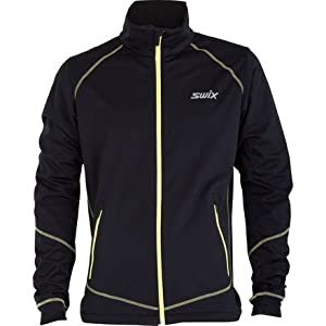 Swix Lillehammer Softshell Jacket - Men's Black/Aqua, XL