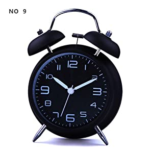 "HITO&#153 4"" Silent Quartz Analog Twin Bell Alarm Clock with Nightlight and Loud Alarm (NO9)"
