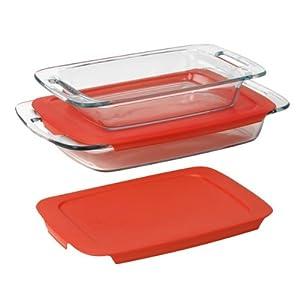 Pyrex  Easy Grab 4-Piece Value Pack, includes 1-ea 3-qt Oblong, 2-qtOblong, Red Plastic Covers