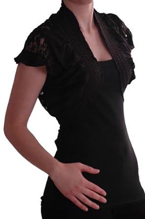 EyeCatch - Melissa Stretch Lace Jersey Ladies Bolero Shrug One Size Black