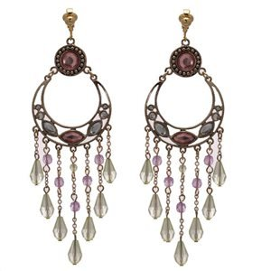 Elaine Antique Gold Amethyst Green Crystal Clip On Earrings