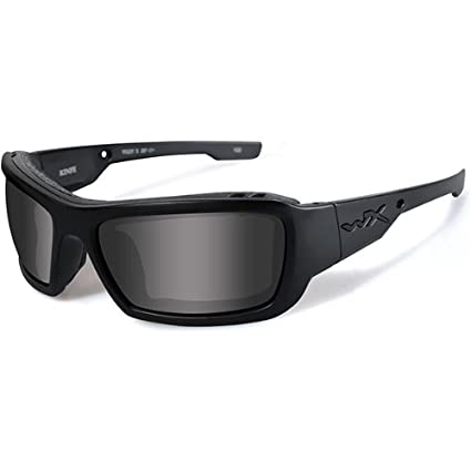 Wiley X CCKNI01 WX Knife Black Ops Ballistic Sunglasses, Smoke Grey Lens w/Matte Black Frame