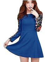 Women Spliced Floral Pattern Round Neck Long Sleeve Short Dress