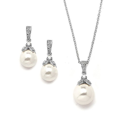 Mariell-Light-Ivory-Pearl-Drop-Bridal-Necklace-Earrings-Set-with-Vintage-CZ-Great-Bridesmaids-Jewelry