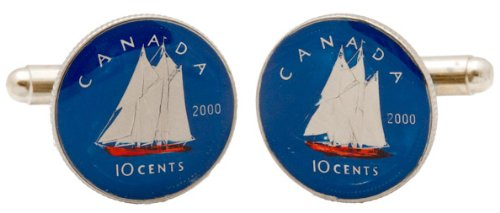 Canadian Dime Coin CuffLinks Hand Painted