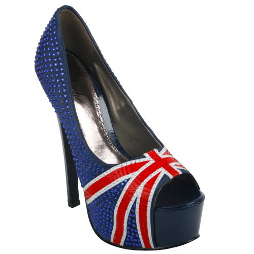 Womens Blue Diamante Union Jack Ladies Peep Toe Platform Heel Shoes Size 4