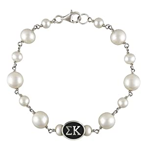 Buy Sigma Kappa Oval Tin Cup Pearl Bracelet. Officially Licensed High Quality and in Stock for... by Collegiate Beads