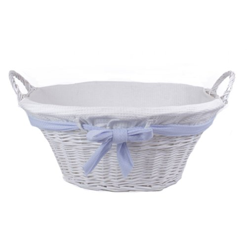 Lukasian House Small White Wicker Basket with Blue Bow & White Liner (Lukasian House Storage Basket compare prices)